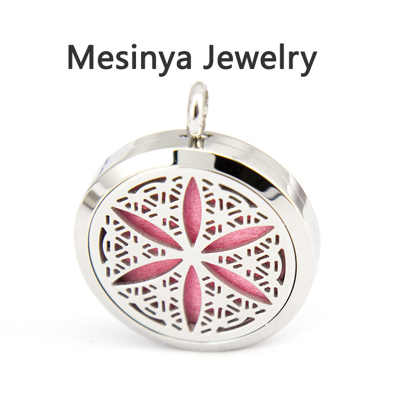 10pcs mesinya Round flower of life (30mm) Aromatherapy / Essential Oils Stainless Steel Perfume Diffuser Locket Necklace<br><br>Aliexpress