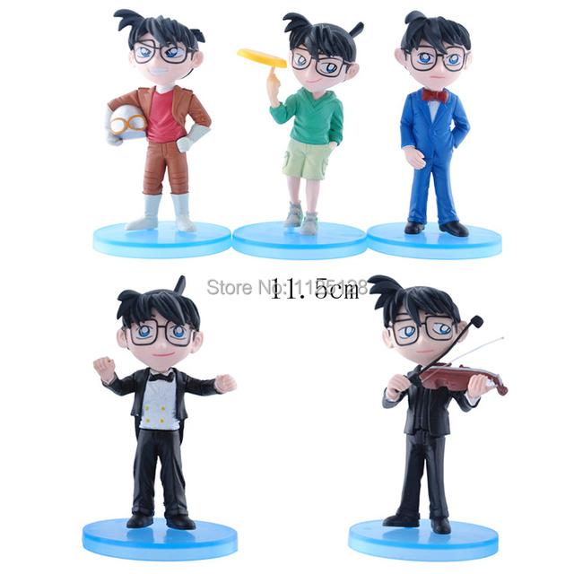 Бесплатная доставка 5 шт. DetectiveConan музыка наряд пвх фигурку конан игрушки модель для детей подарок