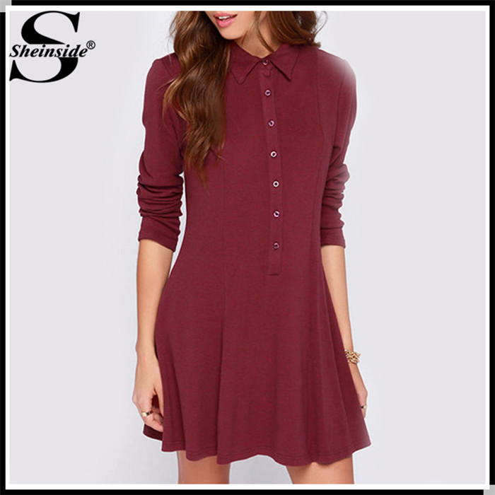 Sheinside Vestidos Informal 2015 Summer Fashion Brand Women Casual Spring Desigual Sale Wine Red Long Sleeve Pleated Dress(China (Mainland))