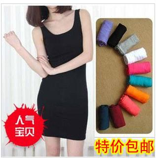 2013 female o-neck slim medium skirt women's modal vest one-piece dress(China (Mainland))