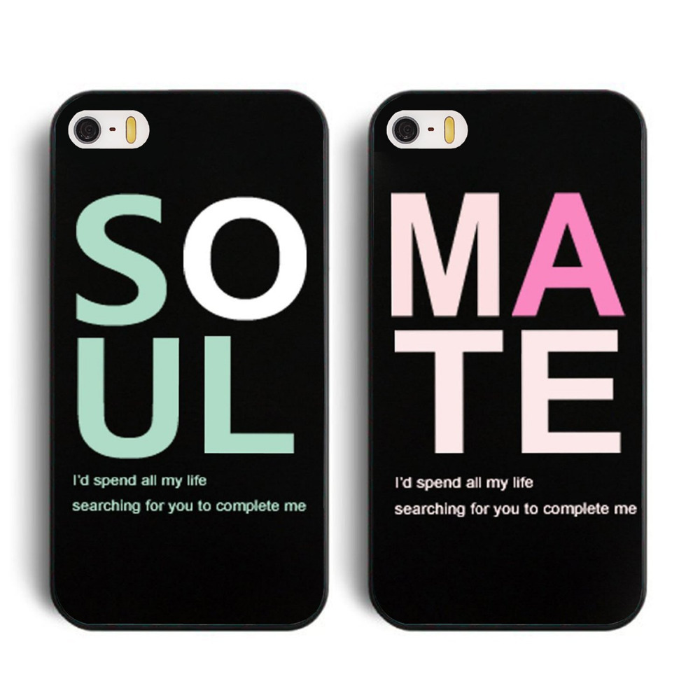 Soul/Mate Best Friends Lovers Couple of Two 2 Case For Apple iphone 4 4S 5 5s 5c 6 6 plus for samsung s3 s4 s5 note 3 note 4(China (Mainland))