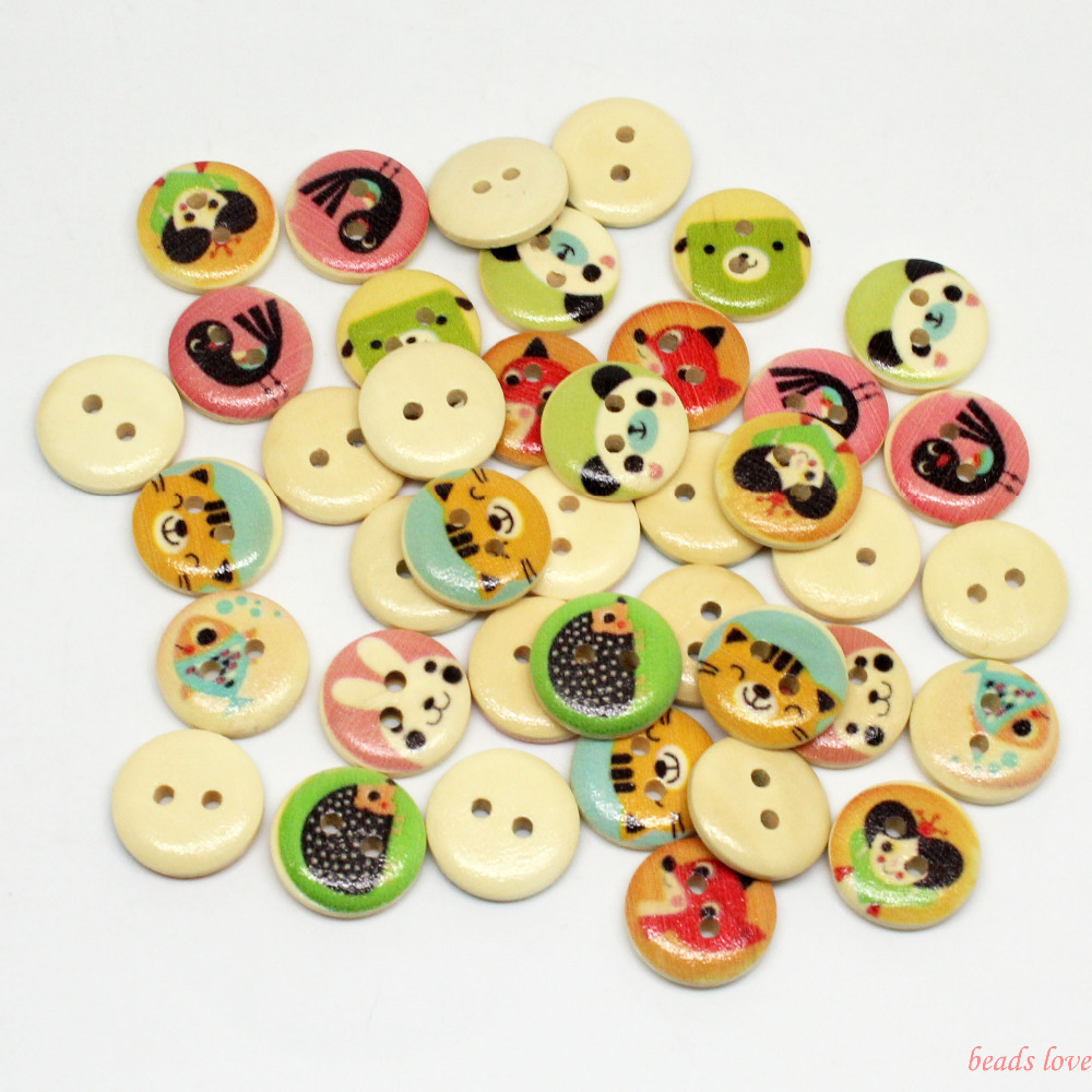 """5Mixed 2 Holes """"animal"""" Cartoon Wood Sewing Buttons Scrapbooking 15mm Knopf Bouton(w02879) - monstar store"""
