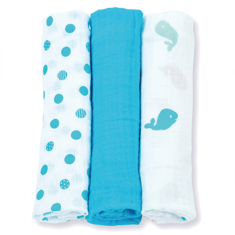 Гаджет  3Pcs Set 70*70cm Lulujo Muslin Cloth Cotton Baby Swaddles Newborn Baby Blankets Double Layer Gauze Bath Towel  Hold Wraps None Детские товары