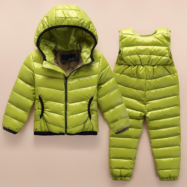 Новые 2016 детей пуховик костюм ребенка тонкий мальчик девочка пуховик вниз брюки качество товаров на продажу