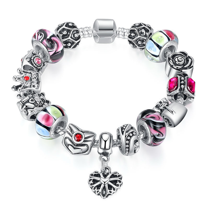 925 Silver Crown Bracelet with Heart Pendant & Murano Glass Beads Popular in Russia & Brazil A1440(China (Mainland))