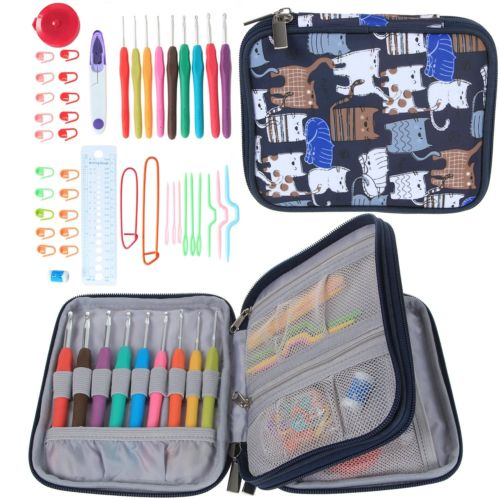 Crochet Hooks Set Storage Bag 45Pcs Knitting Needle Yarn Organiser Case Craft Tools DIY Sewing Needlework Tools Kit Houseware(China (Mainland))