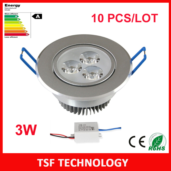 10pcs/lot 3W Ceiling downlight Epistar LED round ceiling lamp Recessed Spot light 220V for home illumination Wholesales Freeship(China (Mainland))