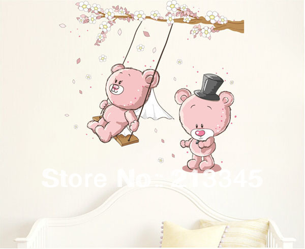 [Saturday Monopoly] new arrival stickers winnie cartoon swing home decor removable children room nursery wall decals kids 5147(China (Mainland))