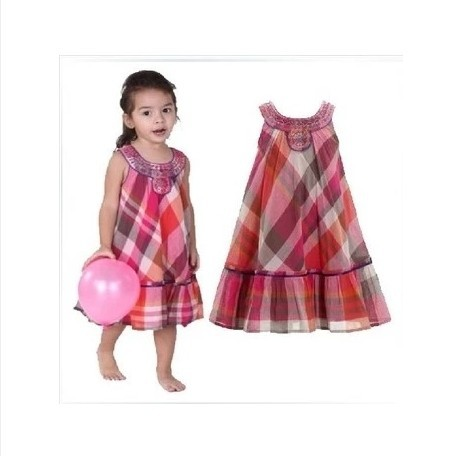 2014 fashion Girls spring summer Monsoon sleeveless beading plaid princess dress kids girl vest tutu - My store