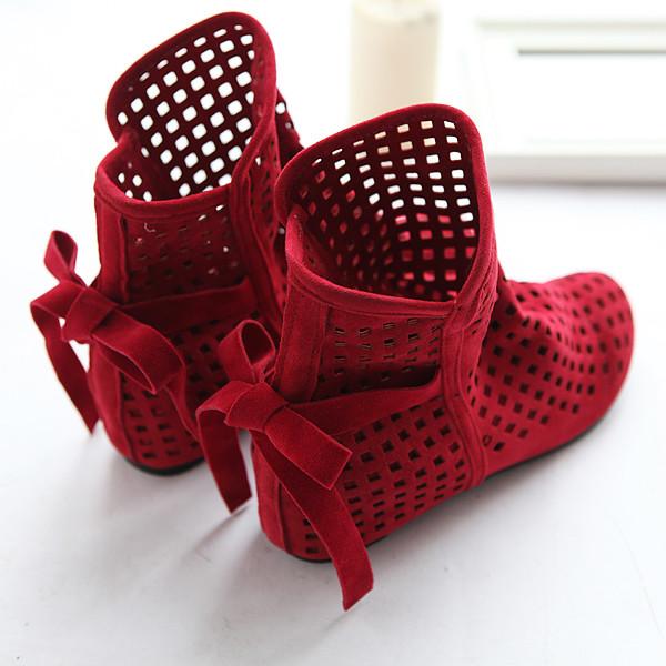2016 nova moda Big size 43 botas de verão mulheres se juntam sapatos baixos baixa cunhas ocultas sólida recortes Ankle Boot senhoras sapatos casuais