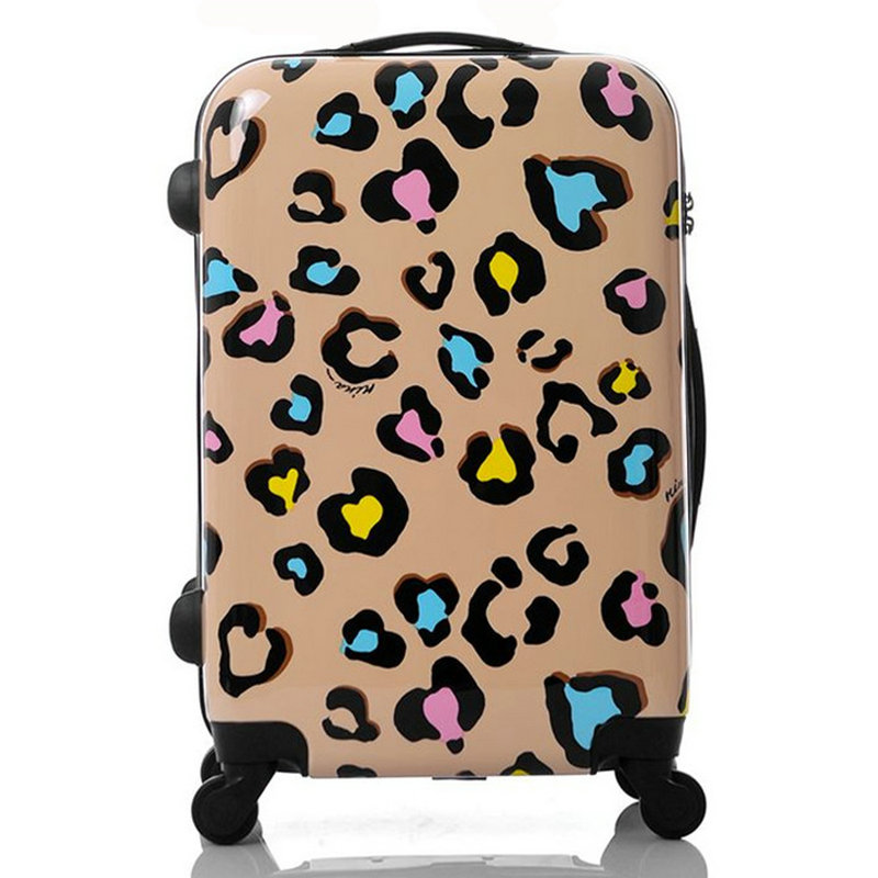 Women Travel Suitcase Girls Leopard Print Luggage ABS+PC Universal Wheels Trolley Bag 20 inch 22 24 inches Rolling - Lzahua Bags Store store