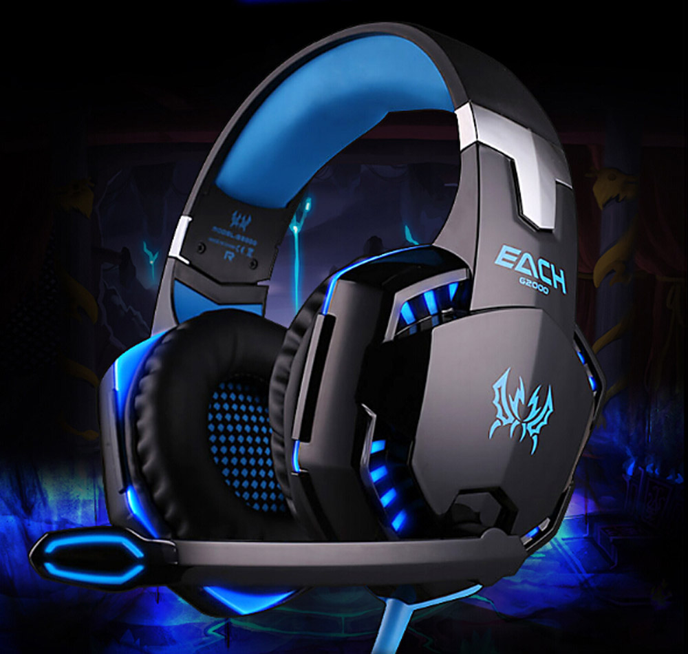 Blue/Orange EACH G2000 Over-ear Game Gaming Headphone Headset Earphone Headband with Mic Stereo Bass LED Light for PC Game(China (Mainland))