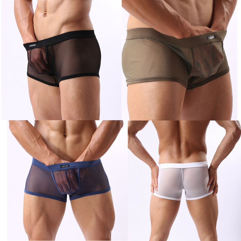 2014 new Wholesale Famous Brand Underwear Men's Boxers Shorts Sexy Gauze Men Panties Sexy Trunks for Men Free Shipping(China (Mainland))
