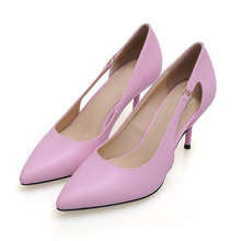 2016 Size 34-41 Fashion Side Hollow Pink Genuine Leather Sexy 3 inch High Heels Women Pumps Ladies Shoes Woman Chaussure Femme(China (Mainland))