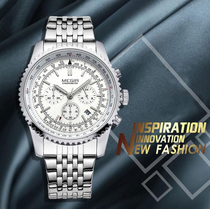 Часы Мужские MEGIR Роскошные Повседневная мода Кварцевые Спорт Наручные Часы Кожаный Ремешок Мужской часы relogio masculino