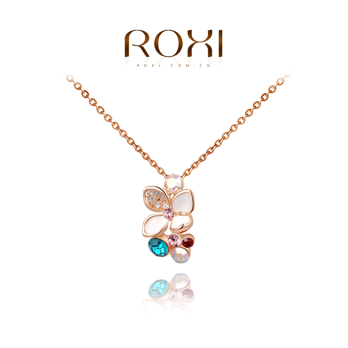 ROXI golden colorful flower necklaces,plated with AAA zircon,fashion rose gold jewelry for women party,new 2013 style,2030023410(China (Mainland))