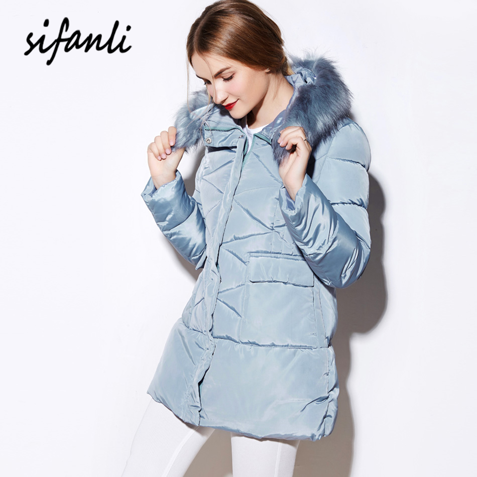 SIFANLI 2016 Winter Women Jacket Outerwear Wadded Cotton Coat Female Thick Hoodies Padded Jacket Warm fur Collar Parka(China (Mainland))