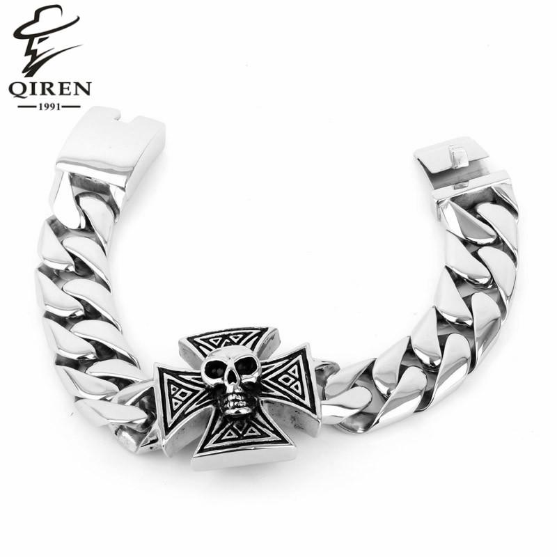New Mens Jewlery Silver Skull Head 316L Stainless Steel Bracelet Cool Men Chain Bracelet(China (Mainland))