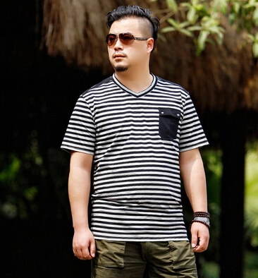 2015 New Arrival Summer Style T-Shirt Men Loose Plus Size T Shirt Men Casual Striped Extra Large Men T Shirt Fat Holliste(China (Mainland))