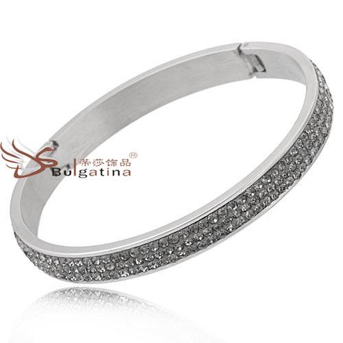 Women bling bracelet crystal stainless steel bangles min order 1 pc CH4226 - Disha Findings store