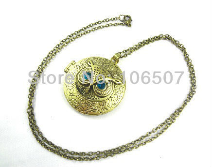 free shipping 100pcs Classic blue eye owl necklace circle photo frame choker trendy necklace sweater chain fashion hot sell