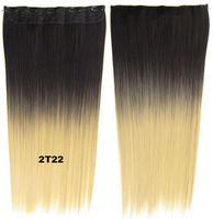 Clip in on straight heat proof synthetic ombre two tone hairpieces dip dye hair extension 2T22, 24inches, 1pc