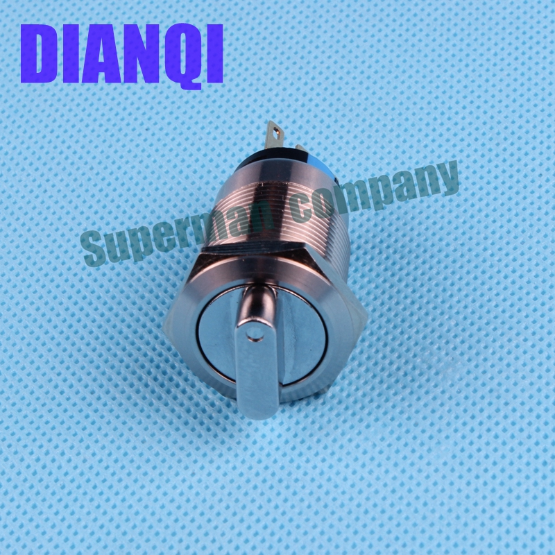 19mm metal rotary push button brass 3 position selector Switch Press Button 1NO1NC Rotate button rotation(China (Mainland))