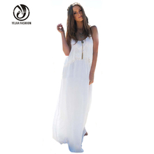 Summer Beach Dress 2016 Women Casual Loose Backless Solid Chiffon Ruffles Clothes Spaghetti Strap Long Maxi White Dress Vestidos
