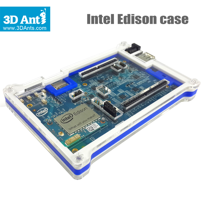 Hot sale! 100% Authentic Intel Edison Development board case double color acrylic shell box (transparent + blue)128mm*78mm*19mm<br><br>Aliexpress