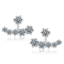 2016 New Fashion 925 Sterling Silver Shiny Cubic Zirconia Crystal Beads Neckband Stud Earrings for Women Wedding Bijoux Brincos(China (Mainland))
