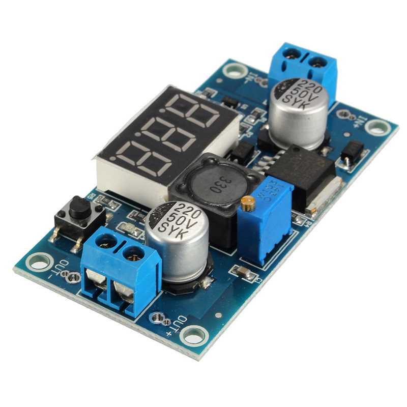 New Electronic Circuit Board LED LM2596 DC Step Up/Down Adjustable Voltmeter Buck Converter Power Module 4-35V 50 x 37 x 13mm(China (Mainland))