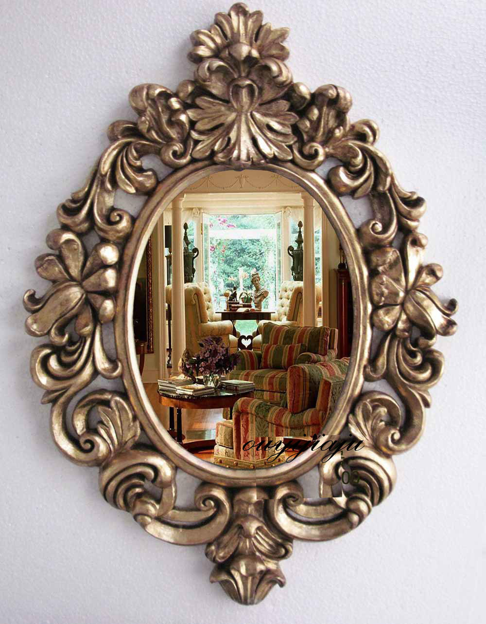 Large big decorative cosmetic antique wall bathroom mirror for Antique style wall mirror