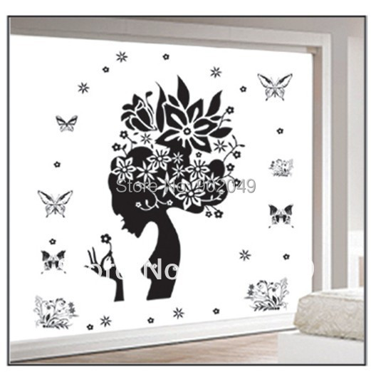 60x90cm Hot Sale wall stickers sexy woman head and butterfly wall art sticker removable DM69-0014