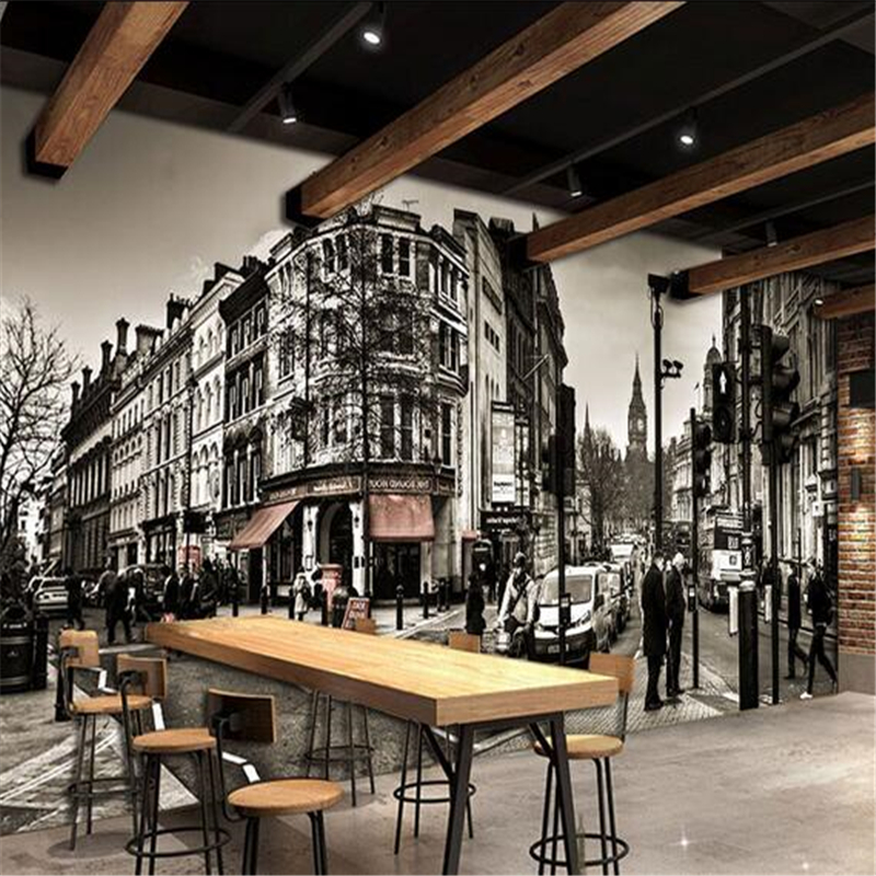 3d stereoscopic large black and white street cafe for Cafe mural wallpaper