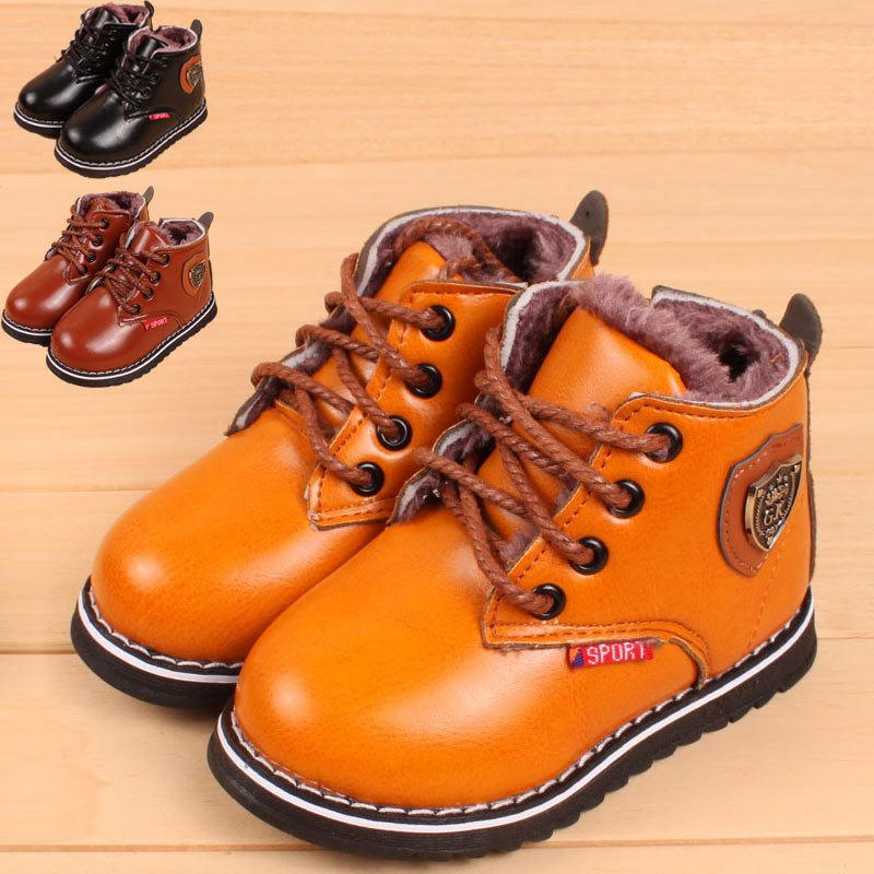 Size 21-25 Children Snow Boots Baby Winter Shoes Kids Boys Girls Soft PU Leather Casual Children Sneakers X07(China (Mainland))