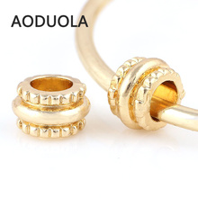 Buy 10 Pcs Lot Big hole Gold-Color Alloy Beads Spacer DIY Beads Large hole Chunky Charm Bead Fit Pandora Charms Bracelets for $1.89 in AliExpress store