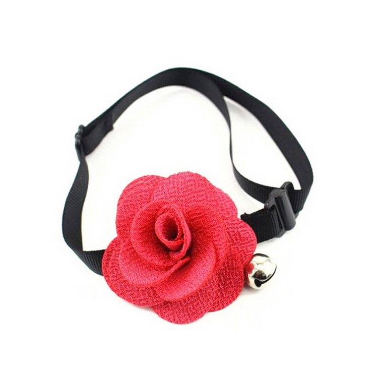 Rose Flower Dog Cat Bell Collar Adjustable Outdoor Nylon Pet Collars For Dogs Puppies Teddy Pets Collars(China (Mainland))