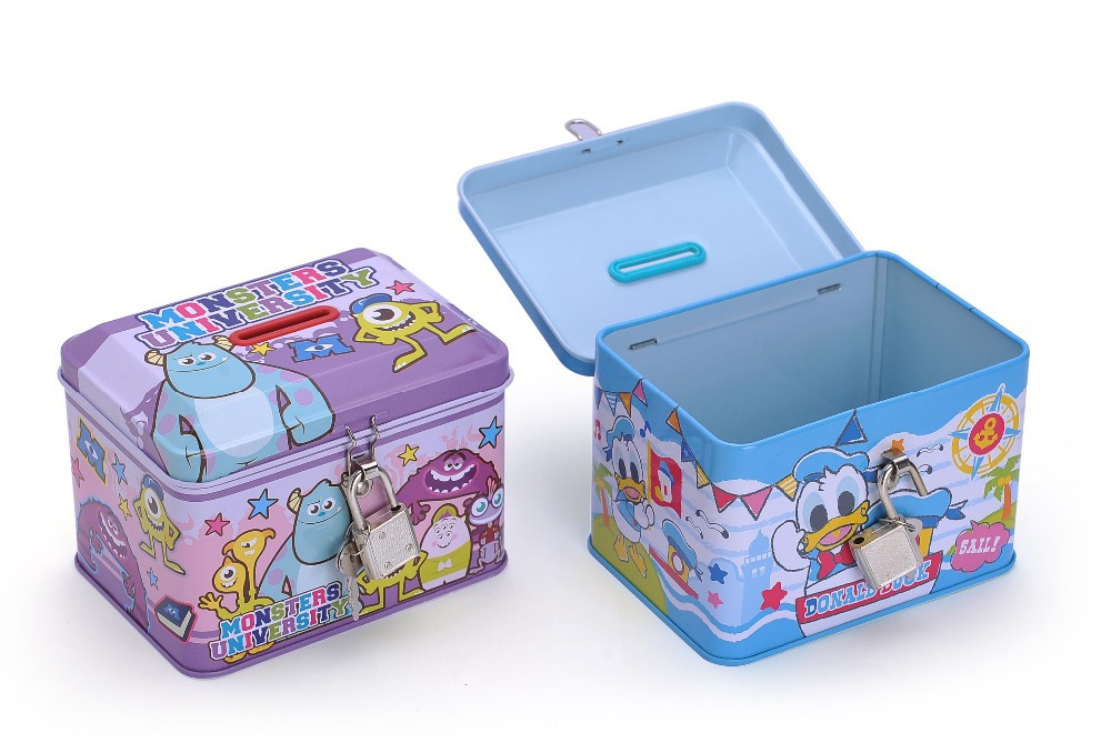 Metal tin can piggy bank box for money saving with for How to open a tin piggy bank