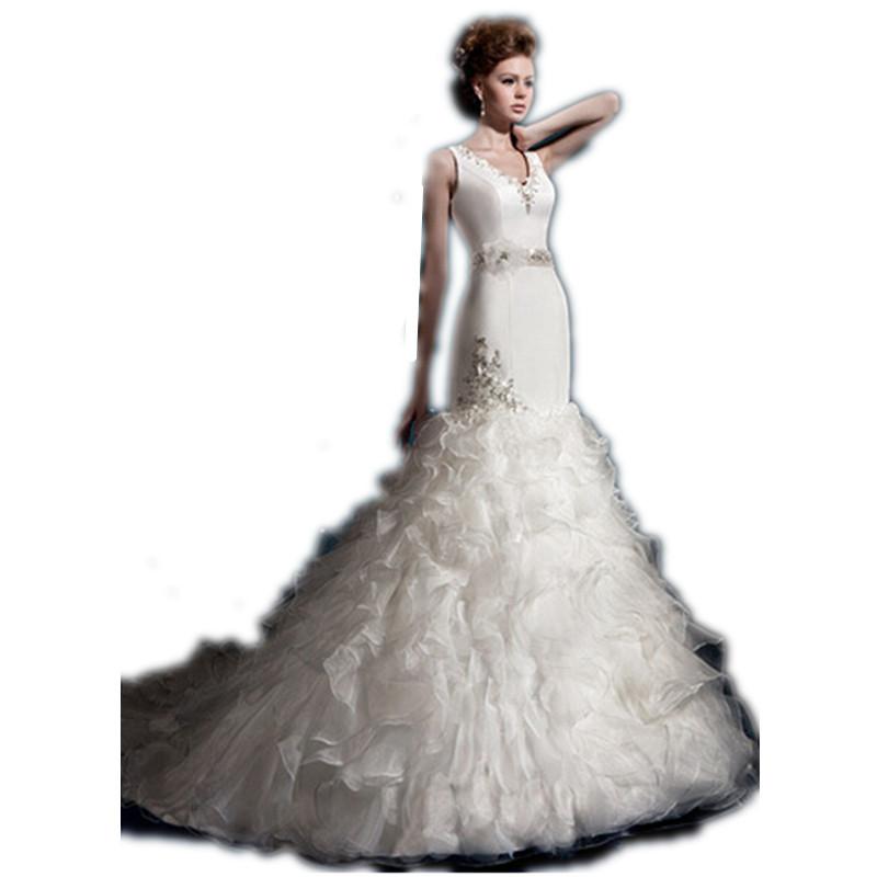 2016 Beautiful Mermaid Dress V Neck White Ivory Wedding Dress Crystal Belt Floor Length Tiered