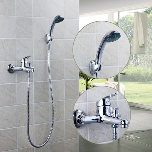 Bathroom Waterfall Wall Mount Faucet Spout Filler Diverter Chrome Widespread