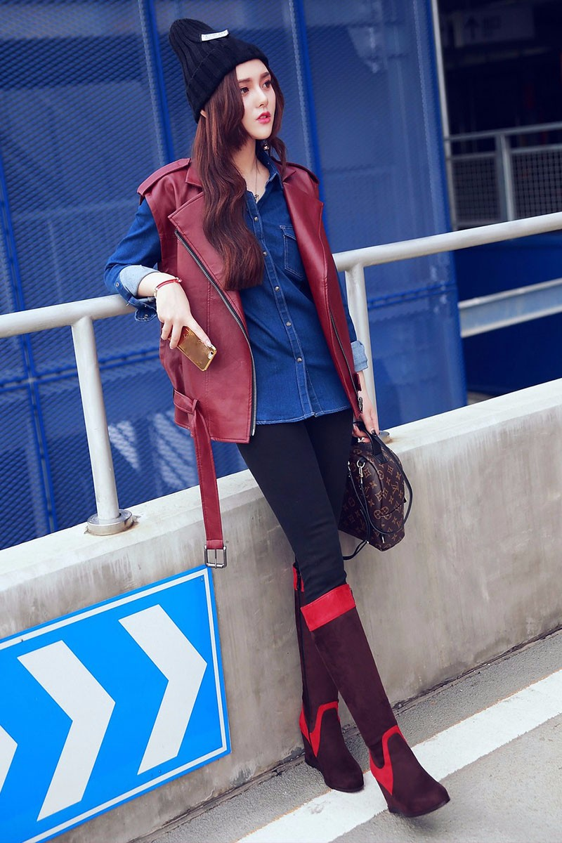 Big Size 34-43 Mixed Colors Stylish Metal Charm Knee Boots Women Fashion 2016 Wedges Shoes Woman Autumn Winter Boots