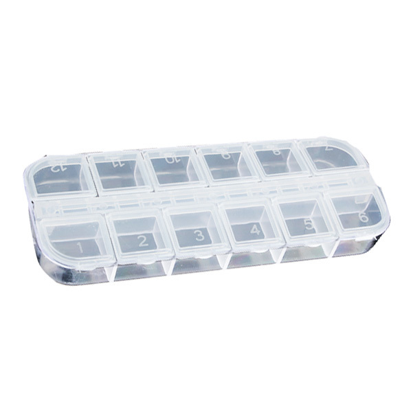 12 Detachable Clear Plastic Divided Storage Box Home Nail Art Empty Divided Boxes Rhinestone Storage Case E2shopping(China (Mainland))
