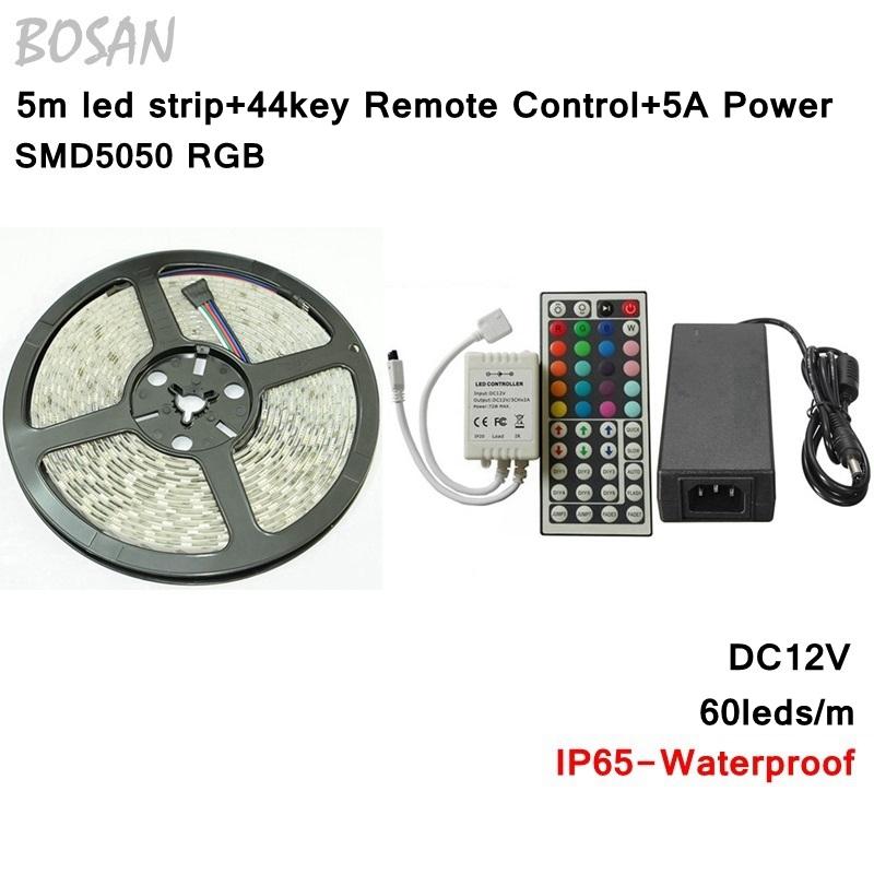 5050 led strip waterproof RGB 60led/M 5M 300Leds SMD Light Flexible Strips Light+44 Key IR remote controller+12V 5A Power - Tomtop supermarket store