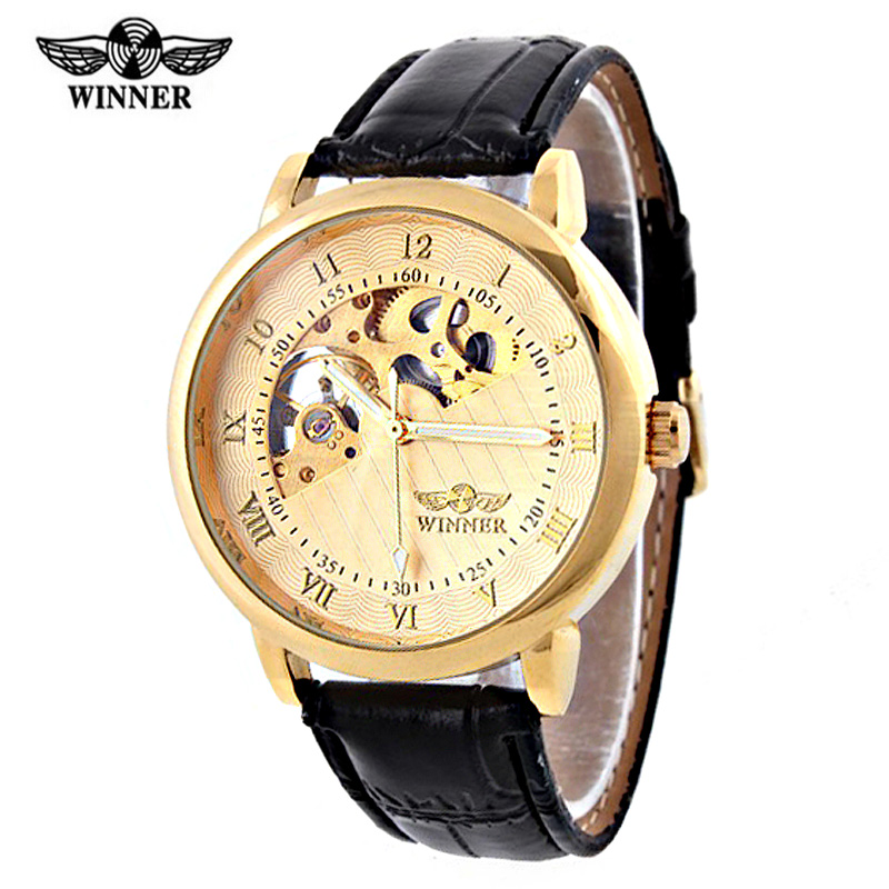 Brand Tags Winner Watch Men Luxury Gold Skeleton Hand Wind Mechanical Watches Wrist Reloj Hombre - Evan Store store
