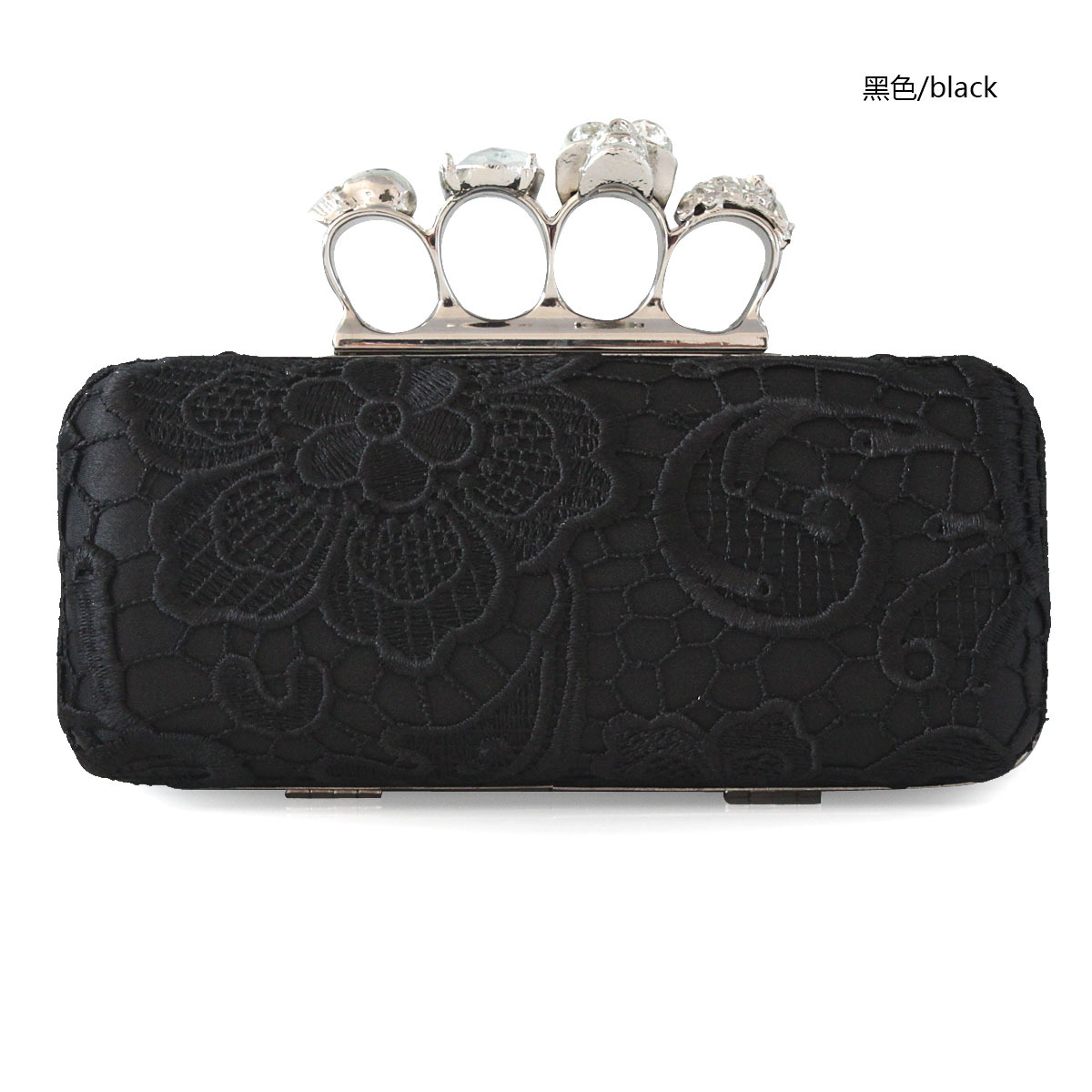 Free Shipping! Black chinese style embroidery diamond skull buckle dinner day clutch cocktail prom formal dress clutch bag