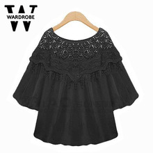 Wardrobe Summer style new plus size 5XL 4XL fat tops Fashion White black Women blouse XL - XXXXXL cute lady loose casual shirts(China (Mainland))