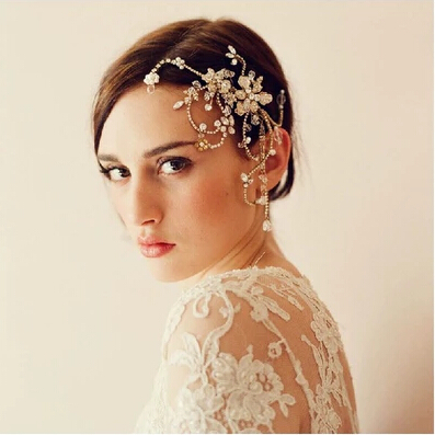 !New Elegant Gold Rhinestone Flower Bride Hair Accessory Combs Wedding Party Jewelry Bridal Accessories L006 - ELEVEN JEWELRY store