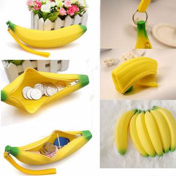 Новинка силиконовые портативный банан монета карандаш чехол сумка кошелек чехол брелок