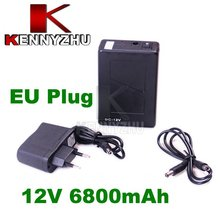EU Plug Rechargeable Lithium-ion Battery Pack DC 12V 6800mAh Portable Super Capacity for Cam Monitor Free Shipping(China (Mainland))