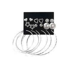 9 Pairs/Set Jewelry Earrings Circle Ring Ear Stud Rhinestone Shiny Star Heart Shaped Ball Women Party Gifts Charms Fashion(China)